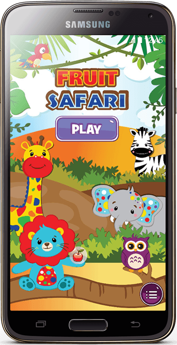 Fruit Safari android game menu screenshot in nexus 6 mockup